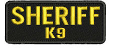 Sheriff K9 embroidery patches 2x5 hook gold
