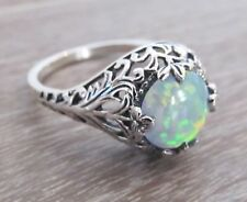 Opal Engagement Ring Sterling Silver Filigree Vtg Antique Art Deco Style Sz 10