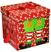 large premium christmas eve gift box lid ribbon handles xmas present elf 1