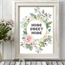 Home Sweet Home Print Wall Hang Gift Cross Stitch Typography Picture Flowers