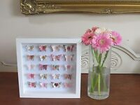 HANDMADE WALL HANGING PICTURE ROSE BUTTERFLIES IN 3D BOX FRAME SHABBY CHIC GIFT