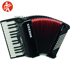 Hohner BR48B-N Bravo 26-Key 48 Bass Piano-Style Accordion Black + Bag, Straps