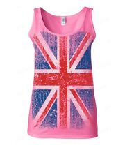 Union Jack vintage WOMAN TANK TOP distressed UK Flag ENGLAND Great Britain tee