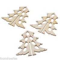 15 Boutons Pendentif en Bois Creux Sapins de Noël Nature Cadeau Noël 9.8x9.6cm