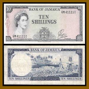 Jamaica 10 Shillings, (L.1960) P-51Bb Queen Elizabeth II (VF/XF)