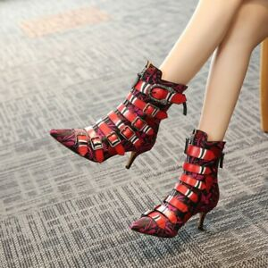 Womens New Leather Pointed Toe Buckle Straps Kitten Heel Ankle Boots Shoes SISQ
