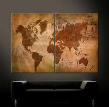 WELTKARTE Leinwand Bild Bilder Modern Abstrakt Schwarz Braun Blau No Poster XL