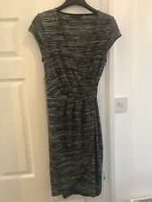 FRENCH CONNECTION Grey/Black Cap Sleeved Wrap Dress Size 10 (RRP £65)