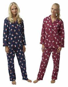 Womens Indigo Sky Pure Brushed Cotton Wincyette Wincy Robin Pyjamas Claret Navy