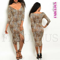 New Sexy Leopard Animal Print Front Split Dress V- Neck Size 6 8 10 12 XS S M L