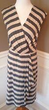 Calvin Klein 8 Beige/gray Striped Sleeveless V-neck Shift Dress