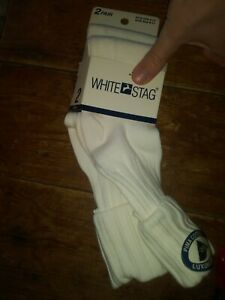 Nwt Preppy 1990s girl 2 pack womens white cuffed socks 9-11 White Stag hot new