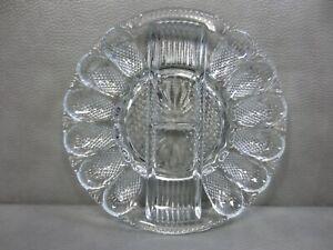 Vintage Indiana Glass Deviled Egg Plate Hobnail Thousand Eyes