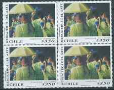 "CHILE 1998 painting messenger of art ""Los Zambos de Calama"" MNH block of 4"
