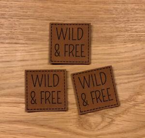 Kunstleder Label zum aufnähen, lasergraviert, 3 Stück #wild & free