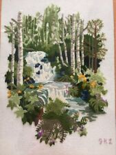 """Beautifully Embroidered Crewel Waterfall Nature Scene Large 19"""" X 25"""" Frame"""