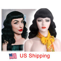 Finger Wave Wig With Betty Bangs Women Cosplay 1970s 80s Long Hair Costume Black