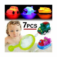 Bath Toy, Light up&Spray Water Rubber Floating Set With Fishing Net and Organ.
