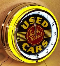 "18"" Safety Tested Used Cars Sign Double Neon Clock"