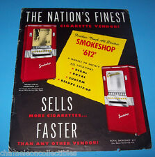 SMOKESHOP 612 AUTOMATIC PRODUCTS 1949 CIGARETTE VENDING MACHINE FLYER BROCHURE