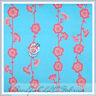 BonEful Fabric FQ Flannel Cotton Quilt Aqua Blue Baby Pink Sm Flower Leaf Calico