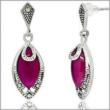 Lab Ruby In Sterling Silver Marquise Post Dangle Earrings #53118