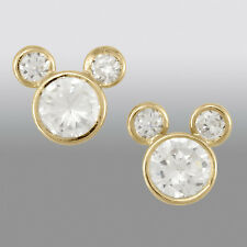 NEW 18K Gold Over Silver Disney Mickey Minnie Mouse EARRINGS CZ Rhinestone Studs