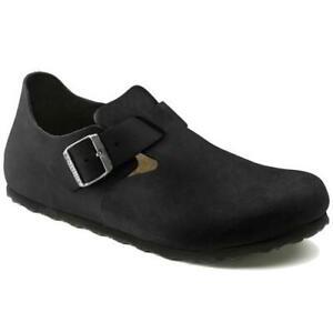 Birkenstock London Mens Womens Black Leather Slip On Clogs Shoes Size 4-12