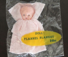 Vintage Pink Plastic Baby Doll with Flannel Blanket 3 inch
