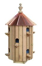 Cedar 10-Hole Bird House with Low Copper Roof Amish Made in USA