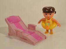 """3.5"""" Dora Explorer Swimsuit Duck Inner Tube Beach Chair Mattel PVC Action Figure"""