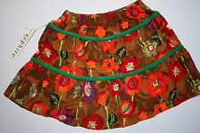 Girls Zephire Generation Skirt Printed Cord Brown Red Flower - SIZE 5 NWT