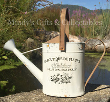 43cm Long Rustic Metal Watering Can Garden Ornament Antiqued Finish