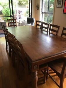 Solid Timber dining table 10 chairs
