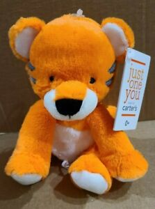 """Carters Just One You Tiger Plush Baby Rattle Stuffed Animal Toy Crinkle Ears 8"""""""