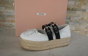Miu 39 Platform Ballerinas Slipper Shoes White New Previously