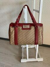 Christian Dior Vintage Tote Bag Handbag Red Brown Mohogram 2004 Authentic
