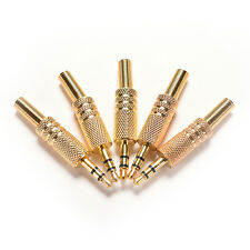 """5Pcs 3.5mm 1/8"""" Stereo Male Audio TRS Jack Plug Adapter Connector Plated Gold BR"""