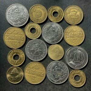 OLD Lebanon Coin Lot - 1952-PRESENT - 16 Uncommon Older Coins - Lot #S27