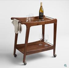 Walnut Wood Mid Century Rolling Storage & Serving 2 Shelf Bar Cart Utility Table