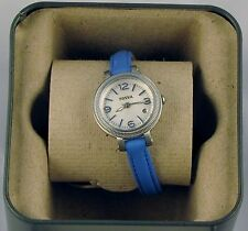 Fossil ES3304 Women's Heather Blue Leather Strap Silver Dial Watch-FREE Shipping
