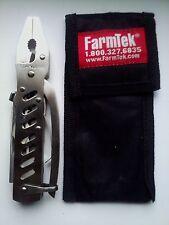 FarmTek stainless multi tool pocket knife with sheath