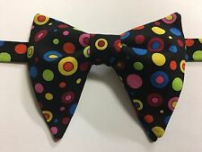 NEW Handmade Vintage style Bow tie 70`s Dotted Black Wedding Bowtie