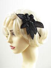 Schwarz Pailletten Wulstig Haarband Kopfschmuck Vintage 1920er Jahre