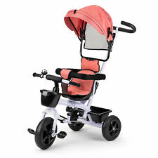 Dreirad ECOTOYS Weiß Rosa Fahrrad Kinderwagen Haube Kinderrad Metallrahmen