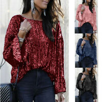 Women's Half Sleeve Sequin Sparkly Glitter Tops Party Clubwear Blouse T-shirt Y9