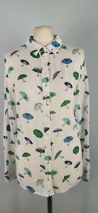 Tu Size 16 White Blue Umbrella Kitsch Print Blouse Shirt Long Sleeve