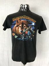 Vintage 80's Harley Davidson The Lone Wolf Graphic Tee T-Shirt Mens M Medium