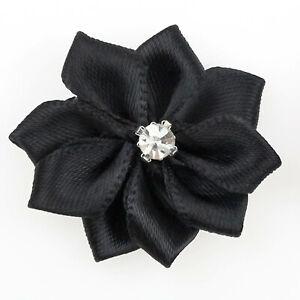100Pc U pick Satin ribbon flowers Crystal Appliques Sewing Craft Wedding Decor