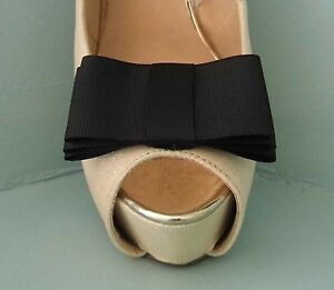 2 Black Large Triple Bow Clips for Shoes with Slim Centre Band